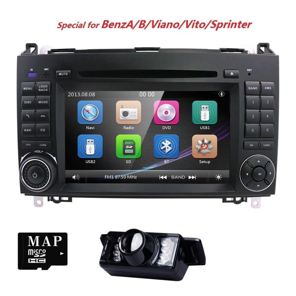 Lecteur DVD de voiture AutoRadio 7 pouces pour Mercedes/Benz/Sprinter/B200/classe B/Vito/Viano 2006-2014 W245/B170/W209/W169 GPS Navi SWC BT