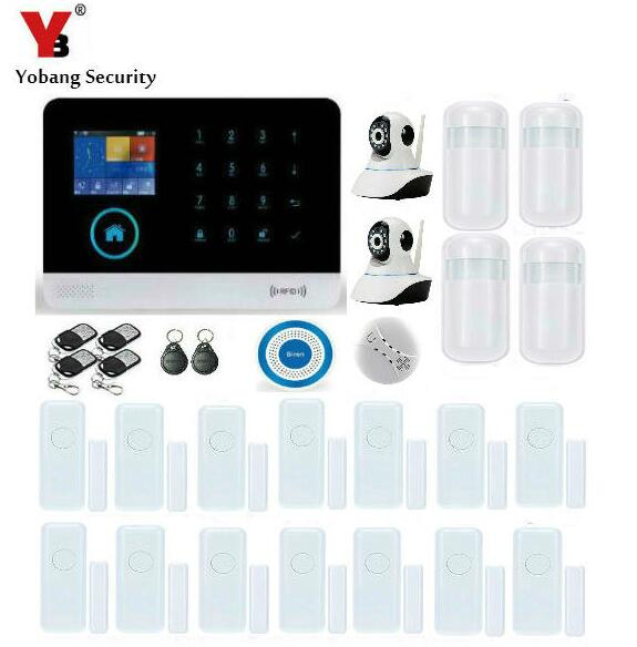 цена на Yobang Security-APP GSM WIFI Alarm System 433Mhz IP Camera PIR Motion Infrared Detector Smoke/Door Sensor Blue Siren Alarm Kits