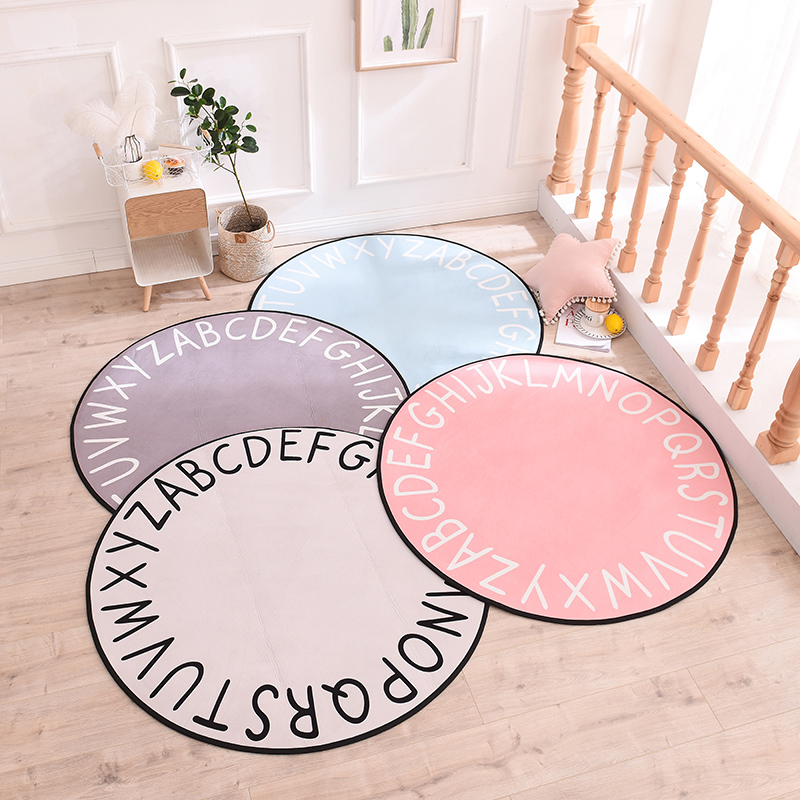 26 English Word Mat Carpet Children Photography Backdrop Room Decoration White Round ABC RUG Mat For Tent Paly