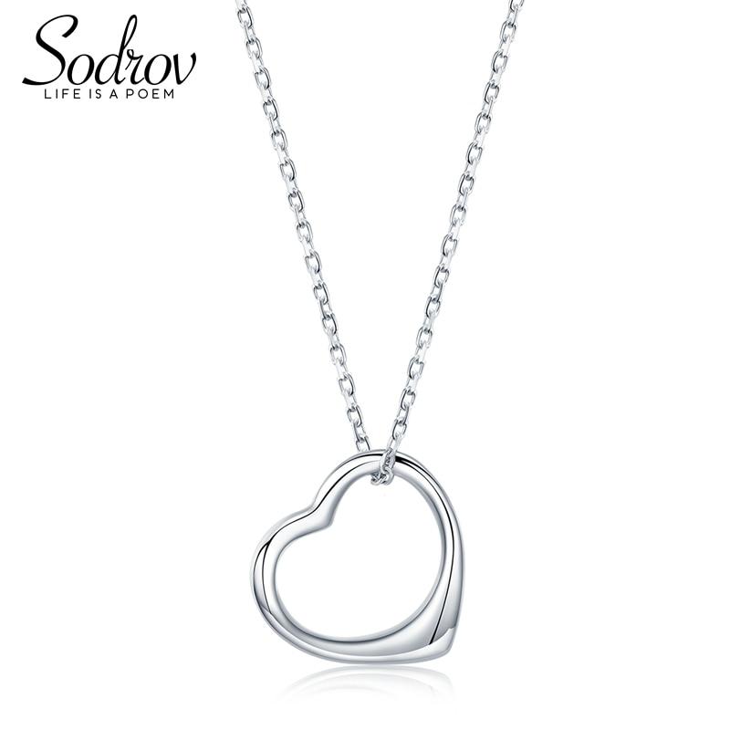 Sodrov Love Shape 925 Sterling Silver Classic Heart Chain Pendant Necklaces Women Fashion Jewelry