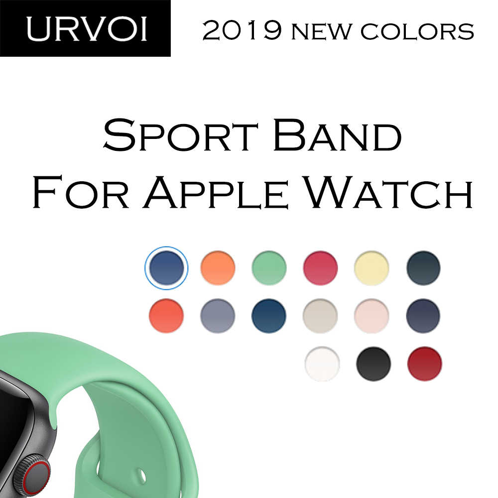 URVOI Spring 2019 Sport band for apple watch series 4321  Silicone strap for iWatch pin & tuck closure colorful replacement