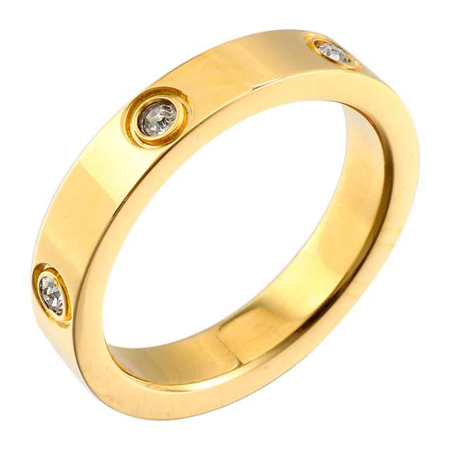 Trendy Rose Gold Color Stainless Steel Rings for Men Women CZ Crystal Inlaid Rin
