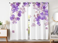 Blackout Curtains 2 Panels Grommet Curtains for Bedroom Flower Drawing With Soft Spring Colors Retro Style Floral Purple