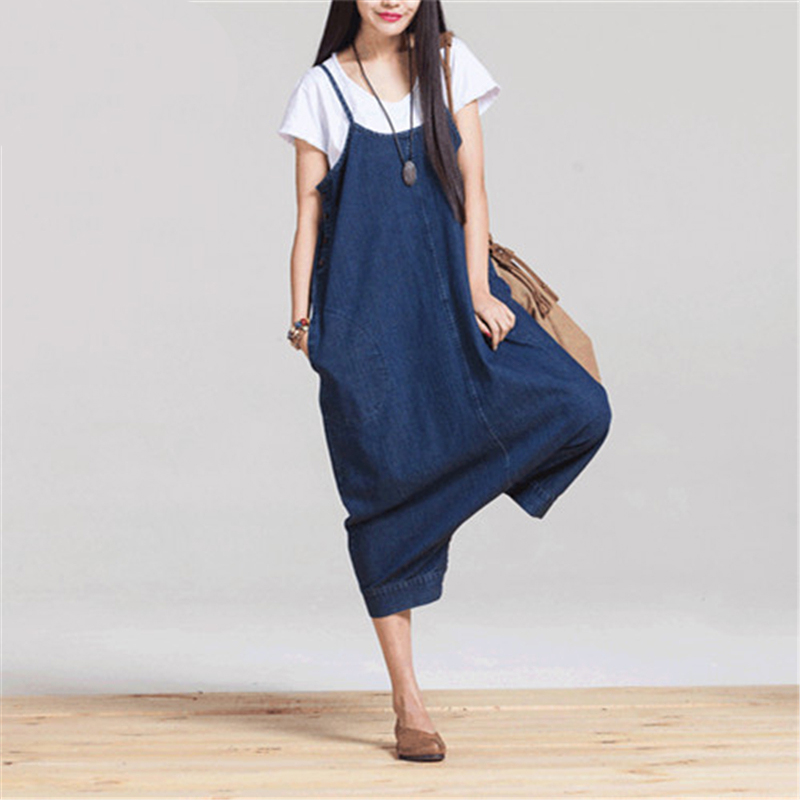 Johnature Women Denim Jumpsuits Loose Casual 2019 Autumn New Casual Blue Korean Fashion Women Clothes Cute