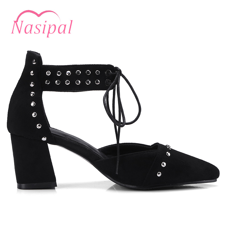 40a667a5768 Nasipal Women Pumps Fashion Rivet Studded Gladiator Chunky Heels Shoes  Woman Ankle Lace Up Thick Heels Hollow Women Shoes C333-in Women s Pumps  from Shoes ...