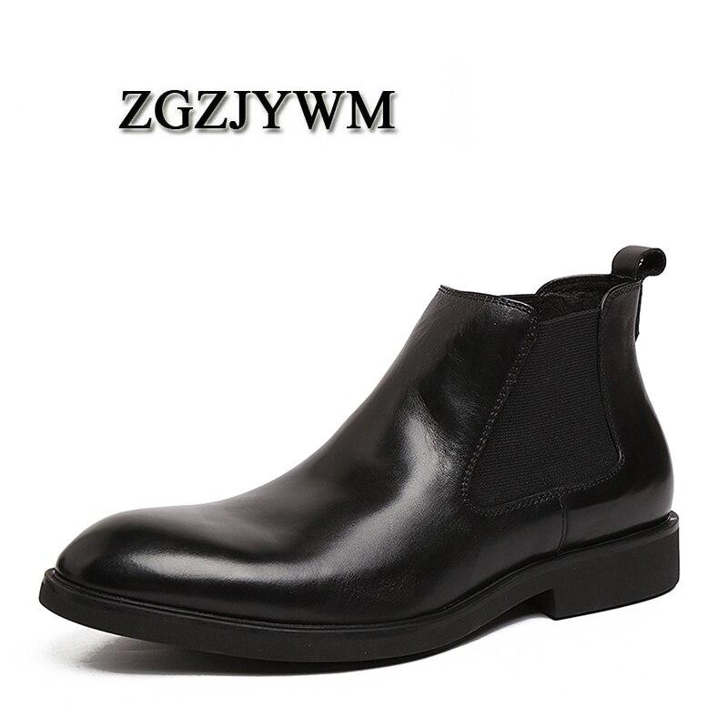 Zgzjywm Designer Winter Größe Luxus Marke 44 Stiefel Echtem Wasserdichte Ferse Mode Leder Männer red 35 Black Motorrad Schnee Aus Hohe R5wq8qf
