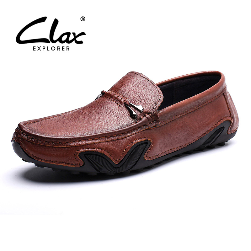 CLAX Mans Leather Shoes SLipons 2019 Summer Men s Moccasins Breathable Male Boat Shoe Loafers