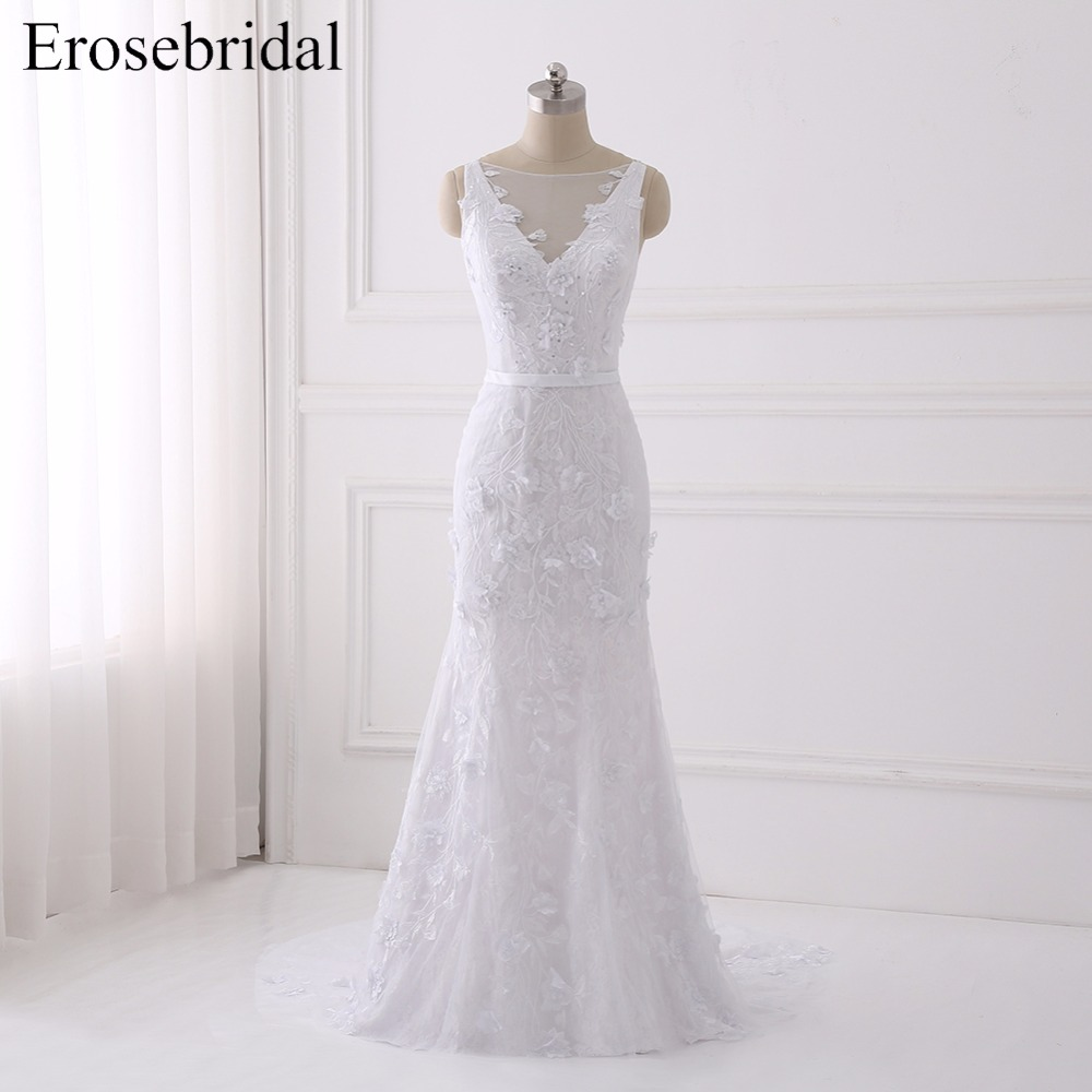 Beautiful Wedding Dresses 2019: Beautiful Lace Wedding Dress 2019 Flower Mermaid Bridal