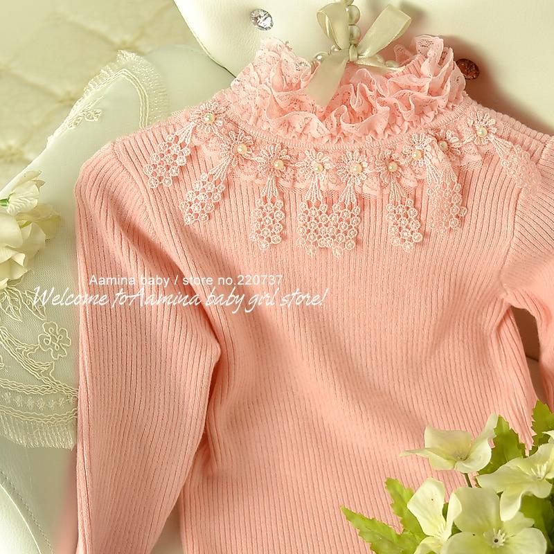 [Aamina] Autumn & musim dingin Pink mengacak-acak turtleneck sweater, - Pakaian anak anak
