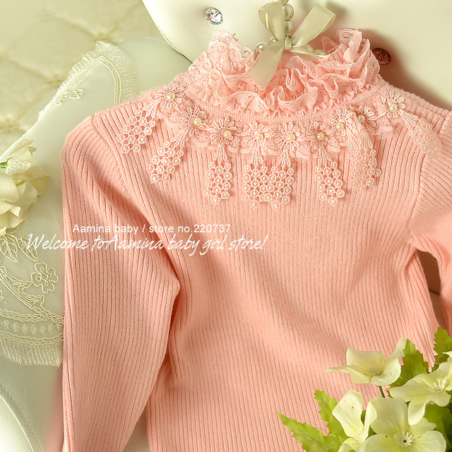 [Aamina] Autumn & winter Pink ruffled turtleneck children sweater,baby girls tights t shirt , wholesale children clothing