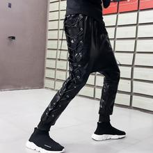 Punk rock cross strap trousers mens pu pants personality Cross harem pant feet faux leather street novelty black