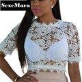 Белое Кружево Топы Цветочные Сексуальная Мода Лето Выдалбливают С Коротким Рукавом Вышивка Кружева Блузка Старинные Рубашки Женщины Blusas D30-F80