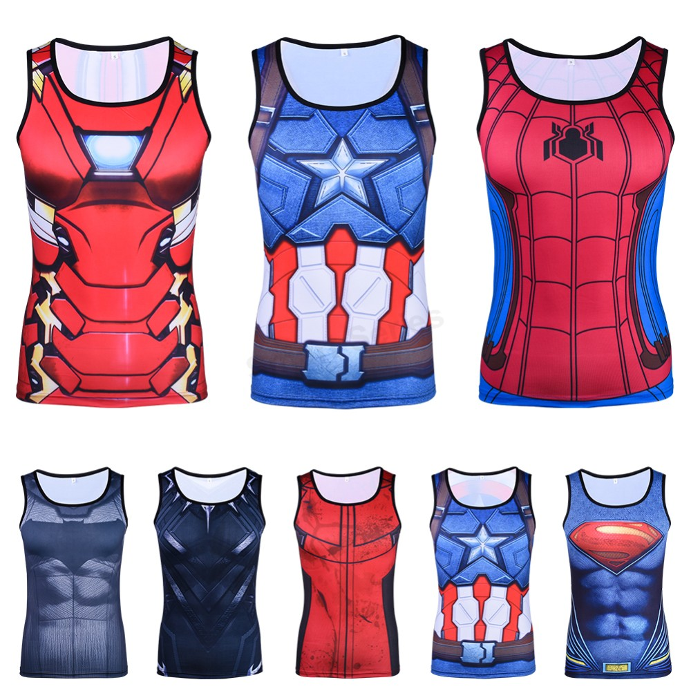 Superman Spiderman Ironman Batman Capital America 3D Printed Men Body Building Shirts Vests Cosplay   Tank     Tops   Fitness