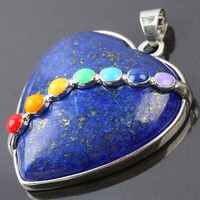 SUNYIK Lapis Lazuli Stone Heart Shape Pendant,7 Chakra Healing Charm,For Necklace (Free Chain)