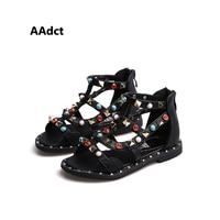 2019 summer Fashion Rome kids sandals princess Rhinestone little girls sandals casual beach Brand children sandals shoes