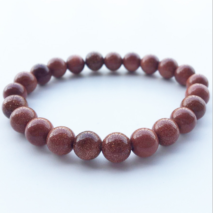 8mm Drop shipping Natural Crystal Quartz Elastic goldstone Bracelets Stones Bead Loose Round Bracelet For Jewelry Bangles