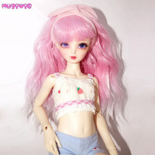MUZIWIG Long Pink Doll Hair for 1/3 1/4 1/6 BJD Making Accessories