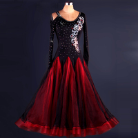 Flash Diamond Ballroom Dancing Dress Women Female Long Sleeve Competition Modern Standard Waltz/Tango Dancing Dress S XXL DL2146