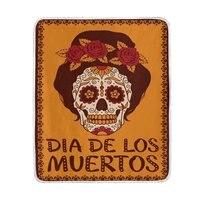 Mexican Floral Sugar Skull Dia De Los Muertos Blanket Soft Warm Cozy Bed Couch Lightweight Polyester Microfiber Blanket