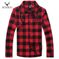 MCHAMCHI Red Plaid Sanding Shirts Drawstring Collar Men Fashion Long Sleeve Spring Autumn Shirts Top Quality Dress Casual Cool