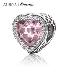 ATHENAIE 925 Sterling Silver with Pave Clear CZ & Pink Heart Shaped Openwork Charm Fit All European Bracelet Necklace(China)
