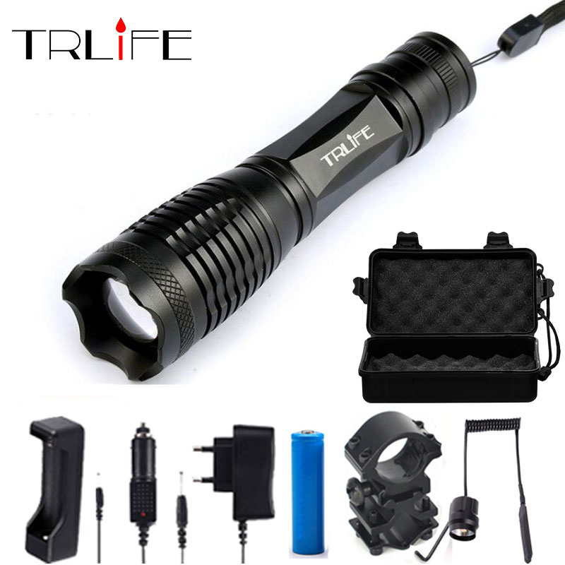 LED Flashlight T6/L2/V6 Lamp Beads Tactical Flashlights For Hunting Flash Light Torch Lamp +18650+Charger+Gun Mount