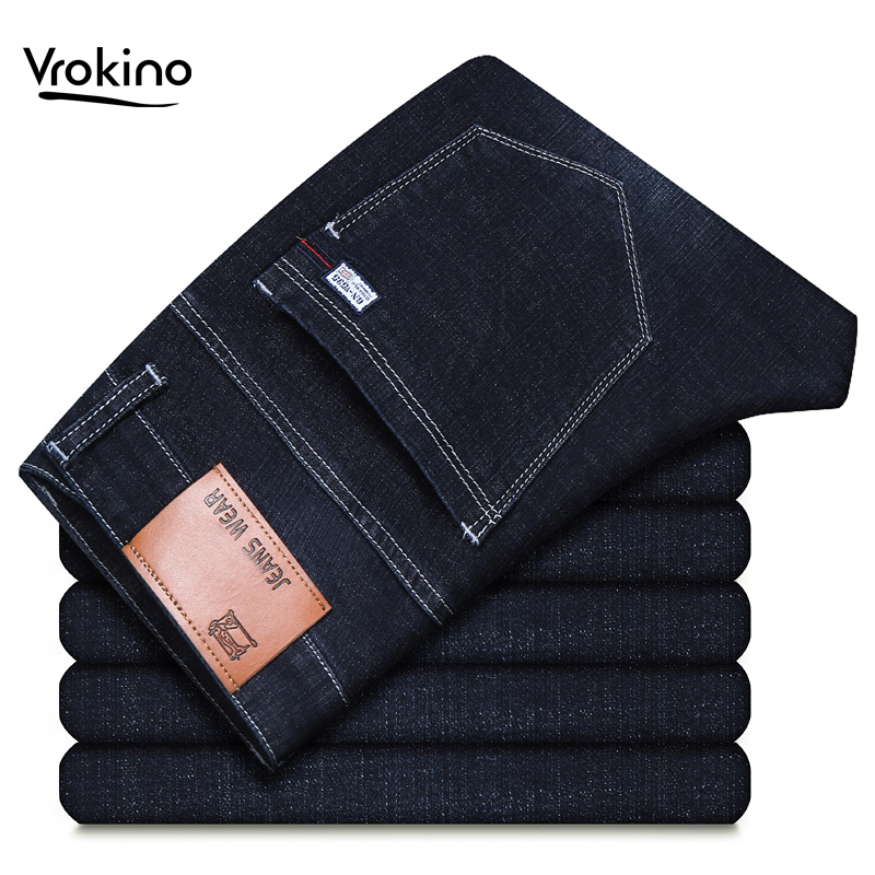 VROKINO Brand 2019 New Men's   Jeans   Leisure Fashion Business Elastic Force   Jeans   Straight Classic Pants Male Blue Black   Jeans   44
