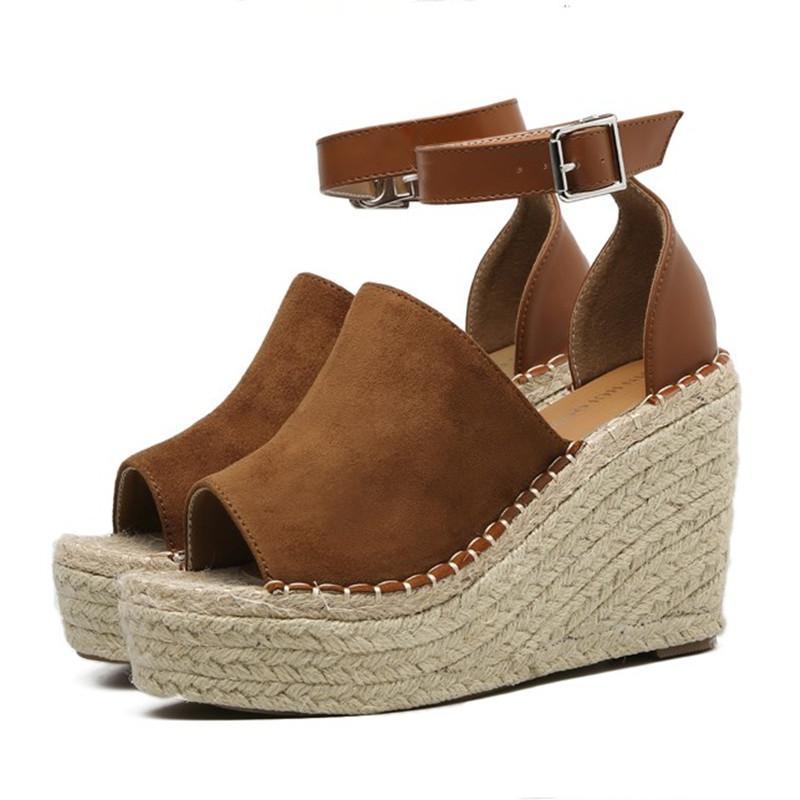 42 Cómodos Green Verano Zapatos Sandalias Más Cuña Toe Roma Brown htsBrdQoCx