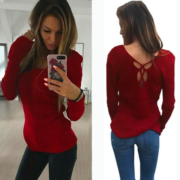 Winter Women Sweaters Computer Knitted Long-Sleeve Autumn Solid-Color Fashion V-Neck