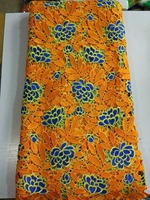 Nice looking orange water soluble lace fabric with blue flower embroidery party dress african cord lace for clothing F95-2