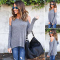 autumn fall spring warm women femme clothing Cold Shoulder Tops Elegant gray Casual Shirt Lady Polyster Off The Shoulder Blouse