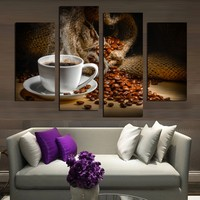 4 Panels Canvas Painting Fragrant Coffee Beans Print Painting On Canvas Wall Art Modular Pictures