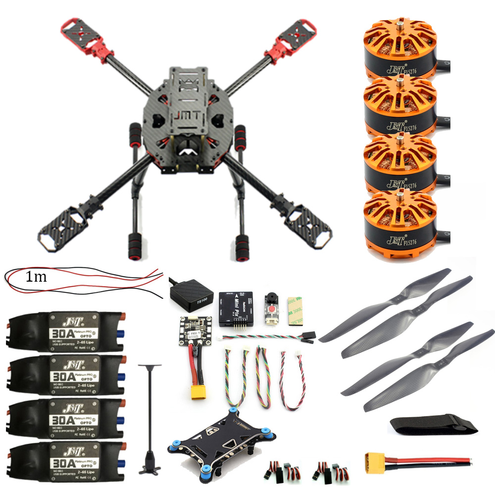 JMT Full Set DIY 2.4GHz 4-Aixs Drone RC Helicopter 630mm Frame Kit Radiolink MINI PIX GPS Brushless Motor ESC Altitude Hold 4set lot universal rc quadcopter part kit 1045 propeller 1pair hp 30a brushless esc a2212 1000kv outrunner brushless motor