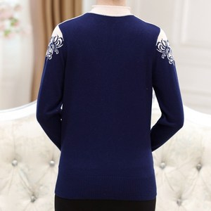 Image 4 - Women Cashmere Sweater V Neck Autumn Middle aged Mother Pullovers Fashion Slim Knit Coat Female Blouse Large Size Knitwear W1085