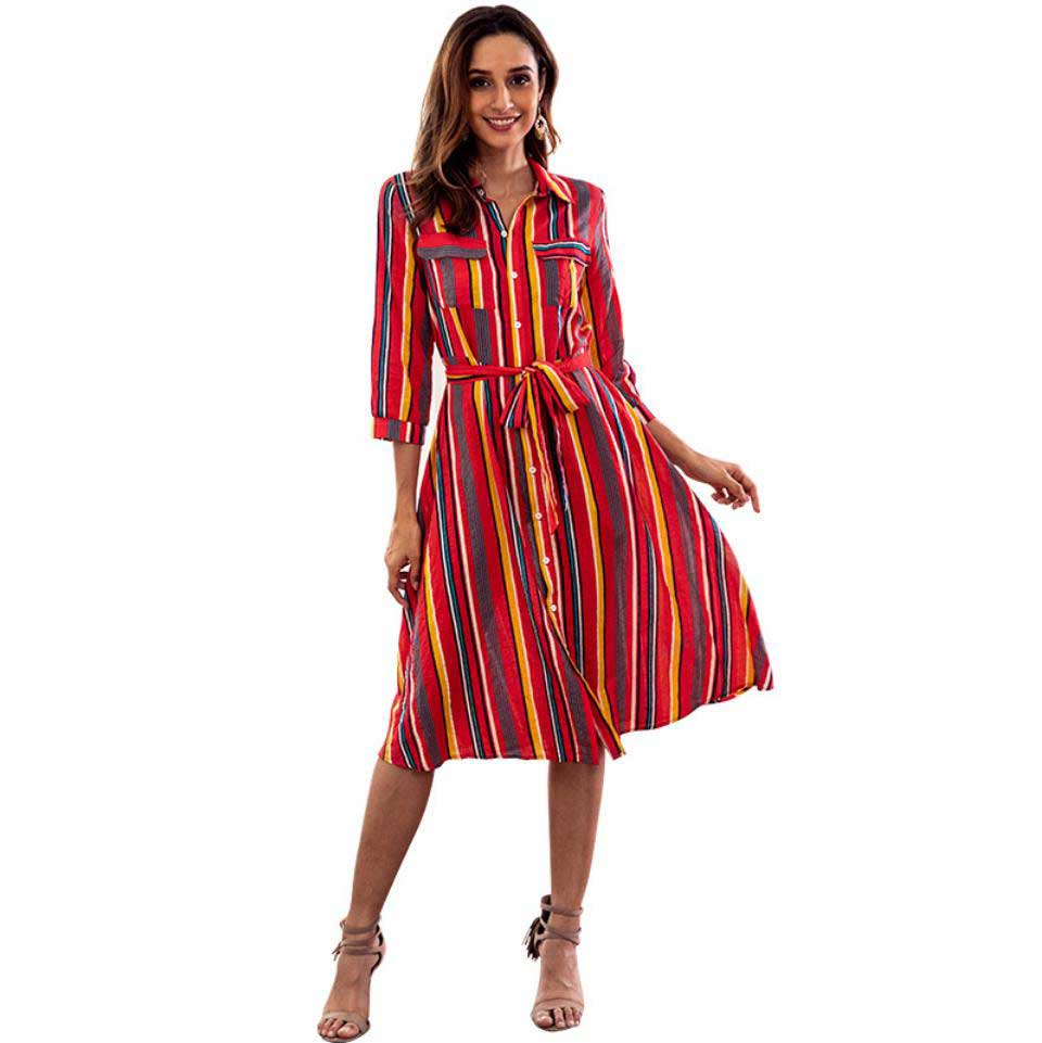 Fashion Casual Women Dress Long Sleeved Autumn Shirt Dresses For Women 2018 Free Shipping Lady Dresses Stripe Woman Clothes