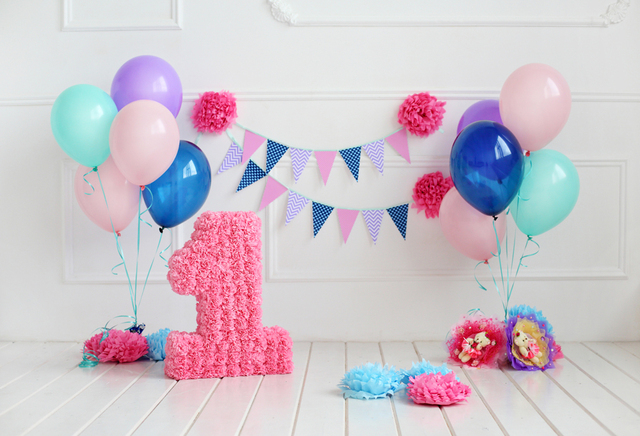 Pink Balloons 1st Birthday Baby Photography Backdrops Vinyl Seamless Camera Backgrounds For Photo Studio Props Xt