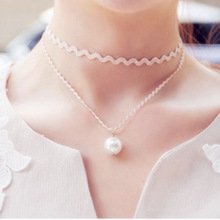 2017 New Hot Personalized Jewelry Accessories Double Sweet Princess Fashion Imitation Pearl Necklace Wholesale Female