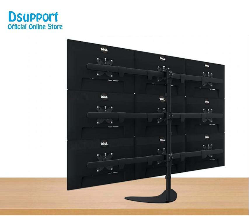 17-24 Aluminum Alloy 9 Screen LCD TV Mount Free Lifting Sliding Full Motion 9 Monitor Holder Desktop Stand S9
