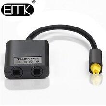 EMK Digital SPDIF Optical Audio Splitter 2 Way Toslink Splitter Adapter 1 input 2 Output SPDIF Optical Cable Splitter Hub
