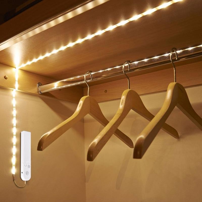DC 5V PIR Motion Sensor LED Cabinet Light 1m 2m 3m Strip Tape Under Bed Lamp For Closet Wardrobe Stairs Hallway Battery Power(China)