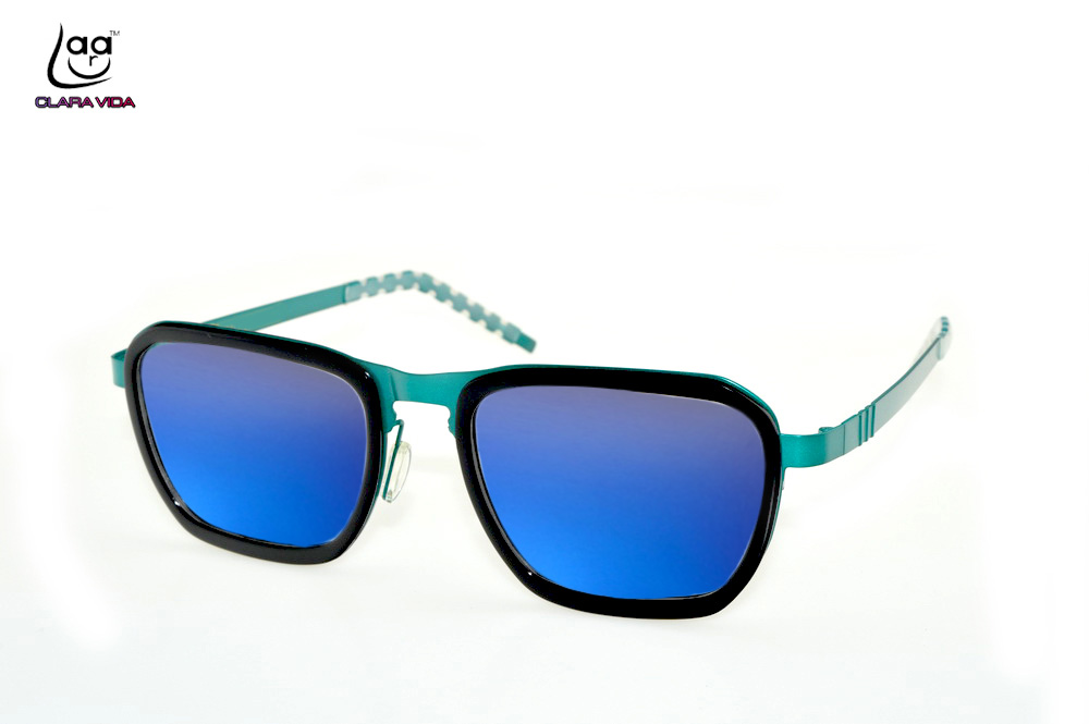 =CLARA VIDA= Custom Made Nearsighted Prescription colorful blue polarized sunglasses stainless steel oversized magical frame
