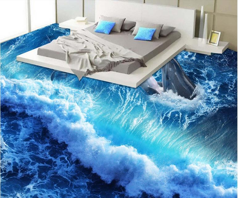 3d Flooring Papel De Parede 3d Europeu Dolphin Waves