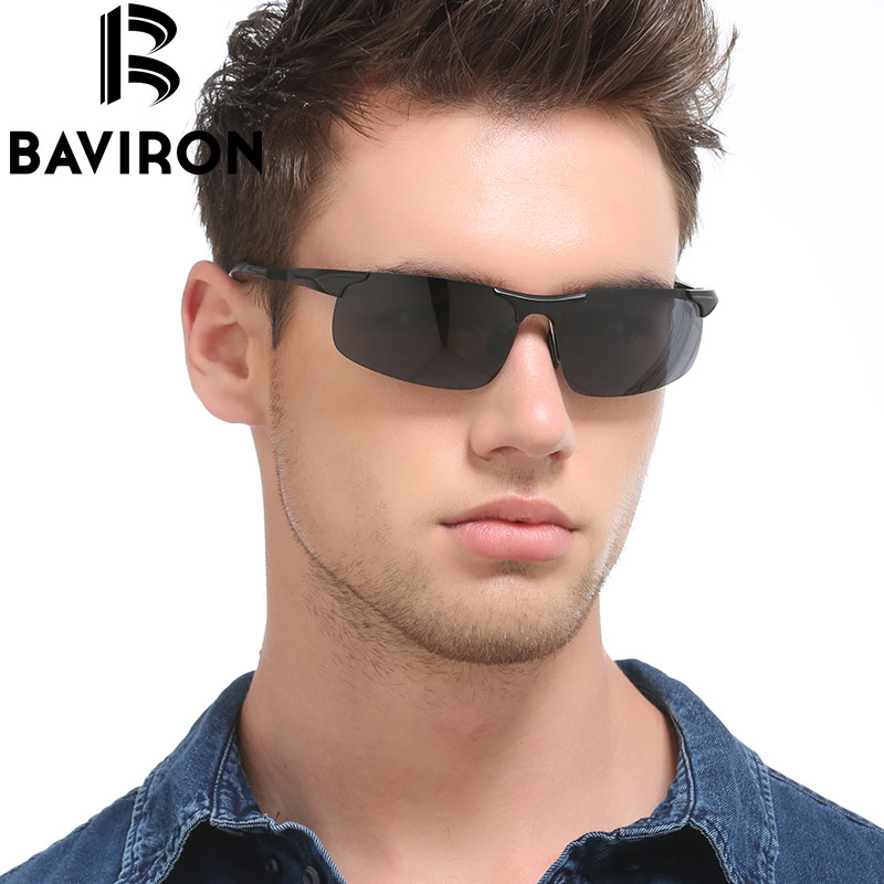 BAVIRON Semi Rimless Fishing Sunglasses Men Flat Surface Glasses Polarized Lightweight G ...