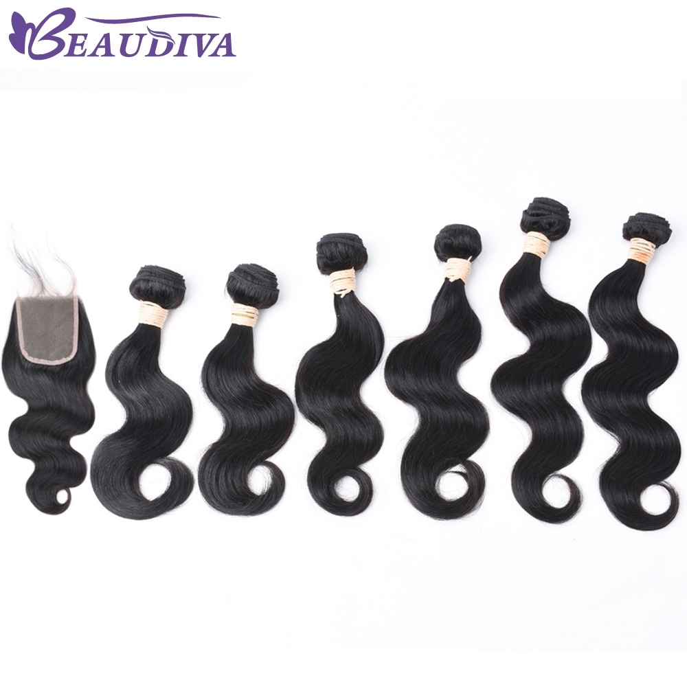 Indian Hair Human Hair 6 Bundles With Closure None Remy Indian Body Wave Bundles With Lace Closure Free Part Free Shipping