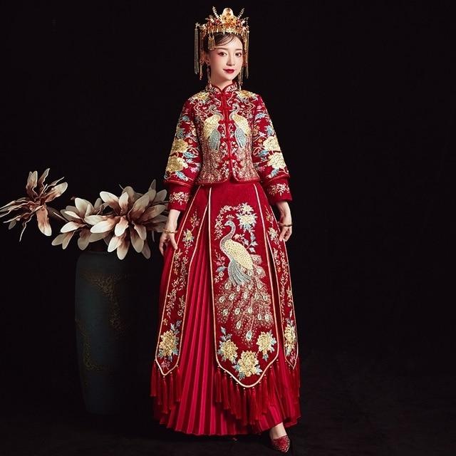 Truyền Thống Trung Quốc Áo Cưới Vintage Cô Dâu Derss Cổ Đại Triều Đình Áo Dây Mariee Thêu Hanfu Sườn Xám Áo Cưới TS821