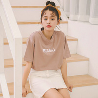 Kesebi 2018 여름 새로운 패션 여성 한국어 프레피 스타일의 편지 짧은 소매 티셔츠 여성 캐주얼 간단한 O 목 기본