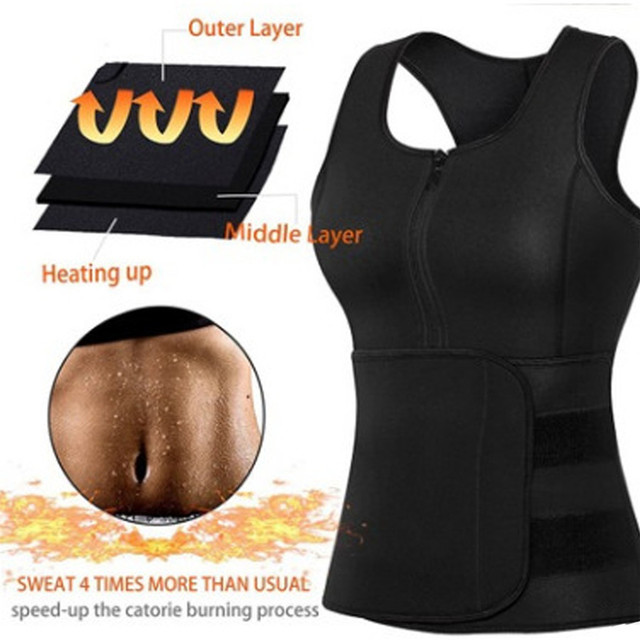 Women Sauna Waist Trainer Vest Gym Adjustable Slimming Sweat Belt Workout Zipper Body Shaper Sexy Shaper Workout Vest 2019 New 3