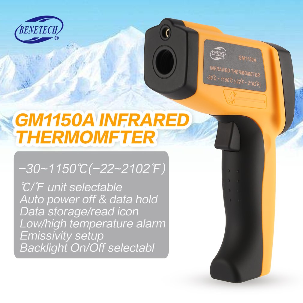 BENETECH 50:1 GM1150A Infrared Thermometer Non Contact Infrared Temperature Pyrometer IR Laser Point Gun -30~1150 DegreeBENETECH 50:1 GM1150A Infrared Thermometer Non Contact Infrared Temperature Pyrometer IR Laser Point Gun -30~1150 Degree