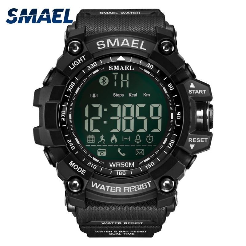 2017 Montres De Style nouveau Smael Marque Sport Noir Waterproor Hommes Montre-Bracelet LED Horloge Numérique Hommes Silicone Montres Intelligentes 1617B