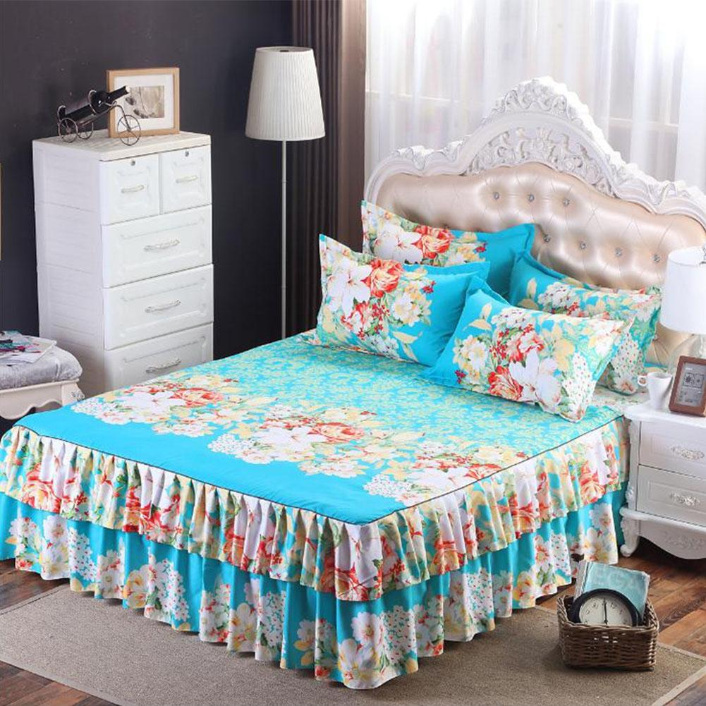 LanLan Floral Fitted Sheet Cover Graceful Bedspread Laced Fitted Sheet Bed Cover Skirt Wedding Housewarming Gift -35